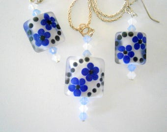 Lampworked Glass Earrings and Pendant Set, Blue White Black Glass Jewelry