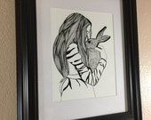 Framed & Matted Velveteen Rabbit Art Print - Reserved for Andrea