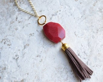 The Maggie- Red Jade and Brown Suede Tassel Necklace