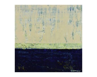 "ORIGINAL Abstract Painting on Wood 12x12"" Minimalist Seascape, GeoHorizon 111 by Lisa Carney, Impasto, Dark Blue, Ecru, Green FREE SHIPPING"