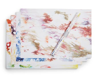"""Wrapping Paper 4 Sheets Hand Dyed Printed 20"""" x 29"""" Gift Wrap Birthday"""