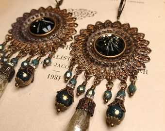 HUGE Filigree Chandelier Earrings in Mercury and Bronzed Turquoise