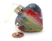 Hand Painted Christmas Ornaments SALE item - Glass Heart Hand Painted Inside in Popular Pantone Colors