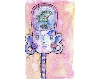 Original Watercolor Illustration - fish headArt by Ela Steel - pink blue purple strange lowbrow art