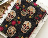 Day of the dead bag - zipper pouch - roses - sugar skulls - sugar skull pouch - day of the dead planner cover - skull planner pouch