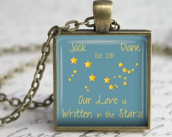 Custom Constellation Pendant, Necklace or Key Chain - Our Love is Written in the Stars - Custom Name and Established Date - Zodiac, Stars