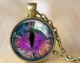 Cool Cat's Eye - Animal Eye Pendant, Necklace or Key Chain - Choice of 4 Bezel Colors - Matching Earrings Sold Separately