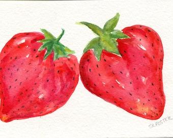 Strawberries Watercolors Paintings Original ART, 4 x 6, original watercolor painting of strawberries, small fruit kitchen art