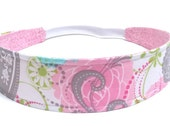Girl's Floral Fabric Headband, Child's Headband, Children's Reversible Headband  - PINK & BLUE FLORAL