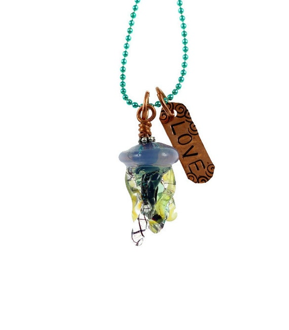 Jelly Love - Mini Jellyfish and hand-stamped 'love' copper word charm - Ball Chain Necklace