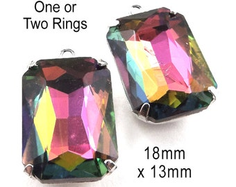 Rainbow Vitrail Glass Beads, Framed Glass Pendant, Earring Jewels, 18mm x 13mm, Octagon, Rhinestone, Cabochon, Glass Gems, One Pair