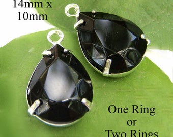 Black Vintage Glass Beads - 14mm x 10mm Pear or Teardrop - Silver or Brass Settings - Opaque - Glass Gems - Set Stones - One Pair