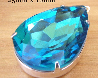 Aqua Blue Glass Pendant - 25x18mm Pear or Teardrop in Silver or Brass Setting - 25mm x 18mm - Rhinestone Jewel - Glass Gem - One Pendant
