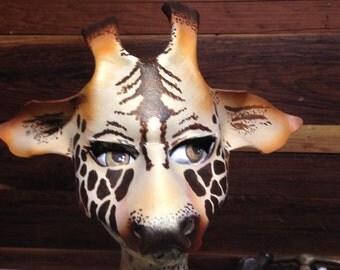 Giraffe Mask, ZOO Animals, African Giraffe Costume leather mask, Madagascar Mask, by Faerywhere Masks