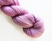 bebe / hand dyed yarn / mini skein / sock fingering yarn / merino wool superwash / embroidery / 4 ply / sparkle / pale orchid pink yarn