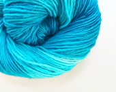 reef / hand dyed yarn / fingering sock dk bulky yarn / super wash merino wool yarn / single or ply/ choose base / light turquoise blue yarn