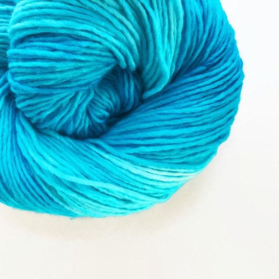 reef / hand dyed yarn / fingering sock dk bulky yarn / super wash merino wool yarn / single or ply/ choose base / light turquoise blue yarn