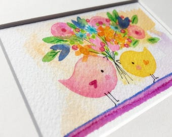 Spring Birdies small art watercolor original painting matted