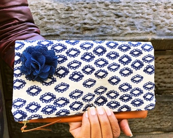Woodblock Navy Blue Leather Clutch, Evening Bag, Foldover Clutch, Women's Leather Purse, Fold Over Leather Purse, Leather Bag, Gift for Her