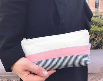 Canvas Bag, Makeup Bag, Canvas Pouch, Blue Makeup Case, Cosmetic Bag, Women's Toiletry Bag, Zipper Pouch