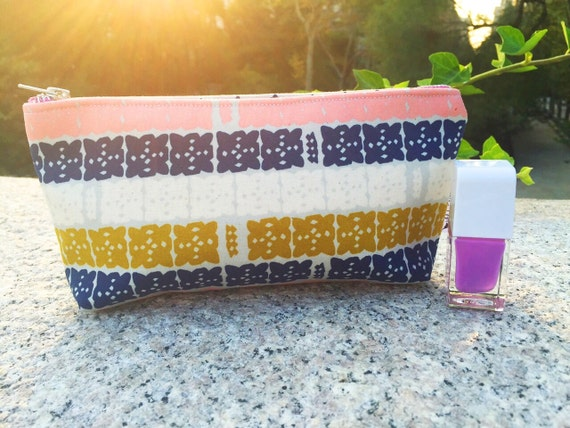 Gray Makeup Pouch, Cosmetic Bag, Small Makeup Bag, Pink Pouch, Toiletry Bag