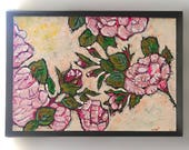 Final Payment for Sarah. Antique Roses, Original Painting, Joy, Bohemian, Art, Cheery, Rustic, Wall Art, Home Decor, Cottage Decor