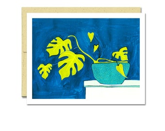 Split Leaf Phildodendron Houseplant Notecard // Single Card // Everyday Card // Blank Notecard // Cute Card // NW Artist // Rachel Austin