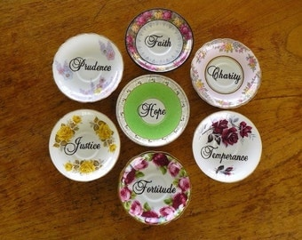 Seven Heavenly Virtues art assemblage hand painted vintage china saucers x 7 recycled wall display decor how to be good