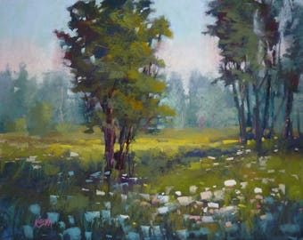 Original Pastel Painting Meadow with Trees and Wildflowers 16x20 by Karen Margulis psa