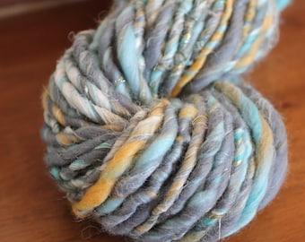 Handspun yarn, super bulky, Merino wool, alpaca, linen, silk and sparkle, 5.2oz - blue clouds