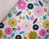 CONFETTI fabric felt  :  Multi Flowers on Natural