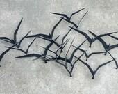 Mid Century 1968 Curtis Jere Birds in Flight Black Iron Large Wall Hanging Art Sculpture