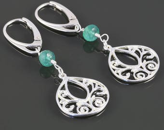 Emerald Filigree Drop Earrings. Sterling Silver. Lever Back Ear Wires. Genuine Emerald. May Birthstone. s17e058