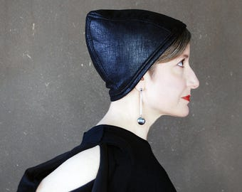 Womens black faux leather cap, sewn turban, brimless cloche, modern madcap, handmade millinery, edgy cocktail hat : Cognoscenti