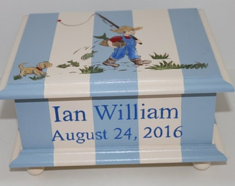 Baby Keepsake box for boy Baby Memory box Gone Fishing personalized baby gift hand painted