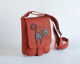 Brick red linen messenger bag with cat