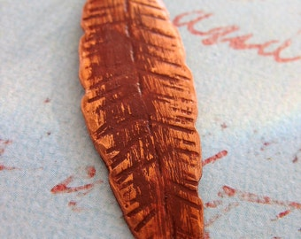 Hammered Copper Feather Pendant in Paprika Orange - 2.5 inches