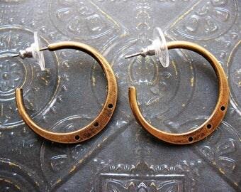 Antiqued Vintage Brass Hoop Findings - 1 pair - 30mm