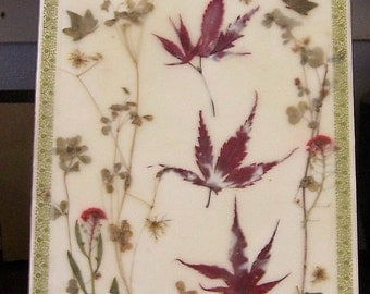 Pressed flower art, encaustic nature collage, small painting, country decor, beeswax collage, home decor, pressed flowers and leaves