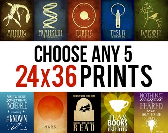Any Five 24x36 Prints - Science Art, Astronomy Poster Geek Chic Art Prints, Book Lovers, Rock Star Scientists, Kitchen Art, Coffee Artwork