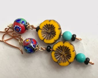 Bohemian Czech glass flower earrings. Vintage Millefiori and turquoise bead accents.