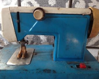 Vintage Blue Metal Toy Sewing Machine