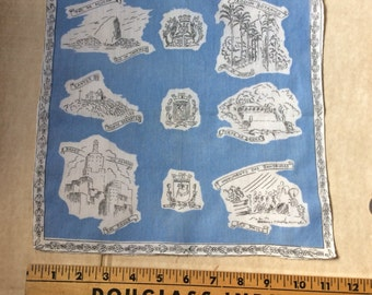 Vintage Souveir Brazil Hanky,Hankies,Handkerchief,Brazil Places of Interest,Collectible Hankies,Sky blue and White,Rio De Janeiro,Santos