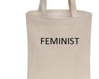 FEMINIST tote bag, ALCU FUNDRAISER, cotton canvas, screen printed, Anna Joyce, Portland, Or