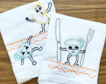 Delightful Dishes Hand-embroidered Dish Towels