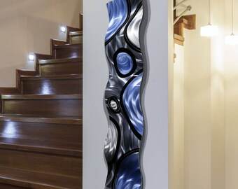 SALE! Metal Wall Sculpture in Silver & Blue, Decorative Indoor Outdoor Metal Wall Art for a Modern Decor - Rains of Blue Wave by Jon Allen