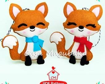 PDF Felt Pattern - Fox Ornament Sewing Pattern - Woodland Fox Felt Pattern - Fox Softie Pattern - Stuffed Fox Ornament - Instant Download