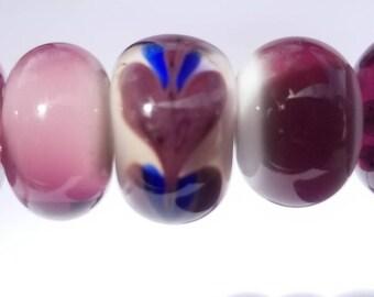 5 purple Lampwork beads, handmade one of a kind