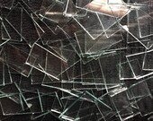 100 Clear Glass Lot of Clear Glass Mosaic Tiles Broken Pieces Art Tile Craft Supply squares Rectangles Hand Cut