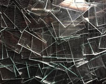 200 Clear Glass Lot of Clear Glass Mosaic Tiles Broken Pieces Art Tile Craft Supply squares Rectangles Hand Cut